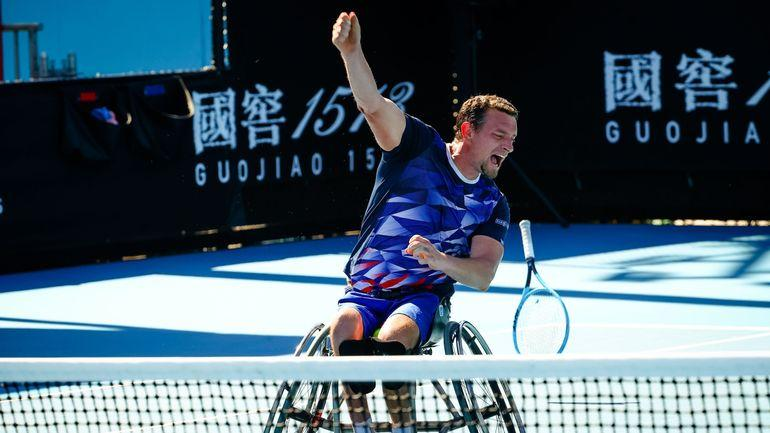 A Belgian athlete takes the Australian Open tournament in an armchair.